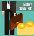 businessman holding briefcase pile coins dollar vector image