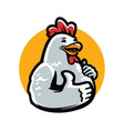 cartoon chicken rooster giving thumb up poultry vector image