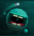 cartoon fantasy blue monster planet with giant vector image