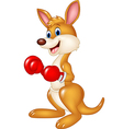 Cartoon kangaroo boxing isolated vector image
