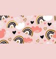 childish seamless pattern with rainbows hearts vector image vector image