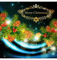 christmas background with green fir and holiday vector image vector image