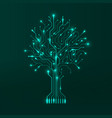 circuit tree on green background modern hardware vector image