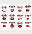 comic emotions woman with glasses facial vector image vector image