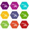 crane truck icon set color hexahedron vector image vector image