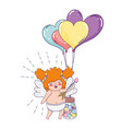 cute cupid chubby girl with balloons helium heart vector image