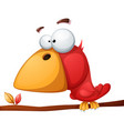 cute funny crazy bird vector image vector image