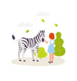 cute girl contacting with zebra colorful vector image vector image