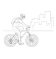 cyclist outline side view in a helmet on a city vector image vector image