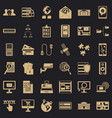 data in laptop icons set simple style vector image vector image
