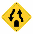 double lane end traffic sign vector image vector image