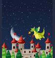 dragon at castle vector image vector image