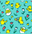 easter background with chickens floral spring vector image