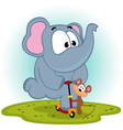 elephant and mouse on scooter vector image