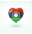 Flag of Malawi in shape diamond glass heart vector image vector image