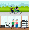 flat active recreation horizontal banners vector image vector image