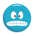 forced smile chat emoticon vector image vector image