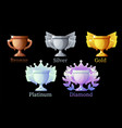 game rank awards cup gold silver platinum vector image