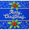 Gold Xmas lettering on blue Christmas background vector image vector image