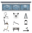 gym interior icon set with fitness gym equipment vector image