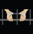 hands with handcuffts in front prison cell vector image