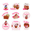 icons of pastry dessert cakes and cupcakes vector image vector image