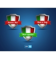 Italy shields with red and green ribbons vector image