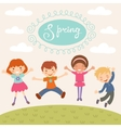 Jumping spring kids vector image vector image