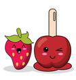 kawaii candy apple strawberry image vector image vector image