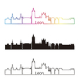 Leon skyline linear style with rainbow vector image vector image