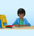 little boy doing homework vector image