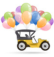 Old car and a bunch of balloons vector image vector image