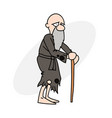 old man in poor clothes vector image