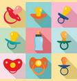 pacifier baby care newborn icons set flat style vector image vector image
