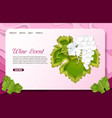 paper cut wine event landing page website vector image
