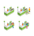 pay in store set 3d isometric view vector image