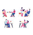 people relaxing in restaurant or cafe set vector image vector image