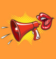retro megaphone and women mouth vector image