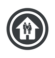 Round black family house sign vector image
