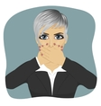 Scared young business woman vector image vector image