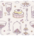 Seamless pattern with hand drawn candy bar objects