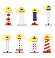 set lighthouses with turned on searchlights flat vector image vector image
