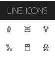 set of 6 editable kin icons includes symbols such vector image vector image