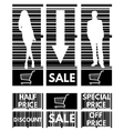 Set of labels for the stock sales on the backgroun vector image vector image