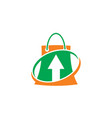 shopping bag arrow business logo vector image vector image
