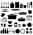 silhouette kitchen tools vector image
