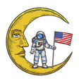 spaceman usa flag on moon color sketch engraving vector image