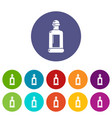 square bottle icons set color vector image vector image