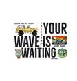 surfing badge design outdoor adventure logo vector image vector image