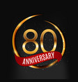 template gold logo 80 years anniversary with red vector image vector image